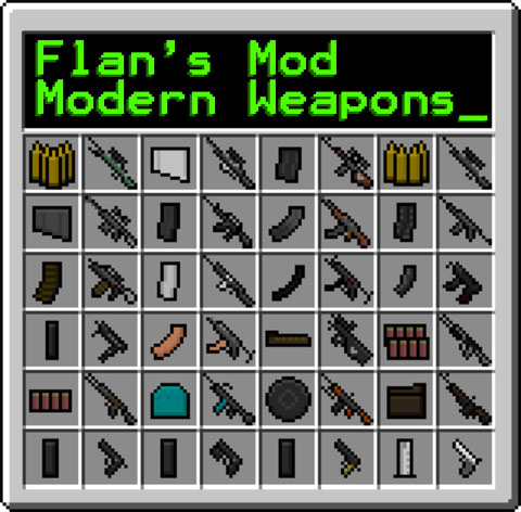37338  Flans Modern Weapons Pack Mod Flan's Modern Weapons Pack Mod for Minecraft 1.4.6