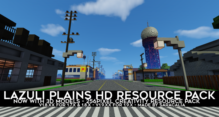 1471a  Lazuli plains 3d models resource pack [1.9.4/1.9] [256x] Lazuli Plains 3D Models Texture Pack Download