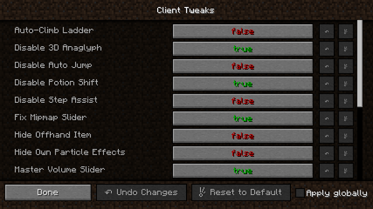 03f73  Client Tweaks [1.10.2] Client Tweaks Mod Download